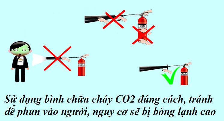 nguy hiểm bị bỏng lạnh khi xịt binh CO2 vào người